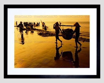 Photo Fish Vietnam Sepia Gold Net Silhouette Poster Art Print FEBB678B