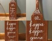 Hand Painted Sorority Paddle Custom Made Calligraphy Bohemian Mandala Wood Stained