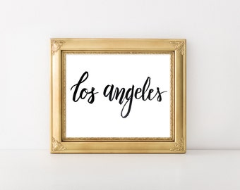 Los Angeles Calligraphy PDF Digital Download Cursive Gift Home Decor Print Out