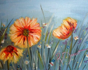 """Original Oil Painting of Abstract Wildflowers on Canvasboard - 5""""x7"""" (18.5x13cm)"""