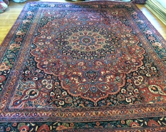 Persian rug GHOM antique washed clean 10.1 x 13.1 great rare find