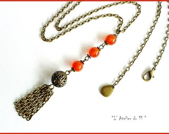 Necklace carnelian Bohemian-style metal bronze