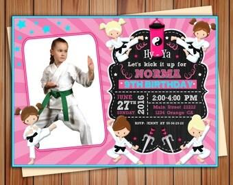Karate, taekwondo birthday party photo invitation Girl, taekwondo, Martial Arts party birthday chalkboard invitation, Thank you card free!