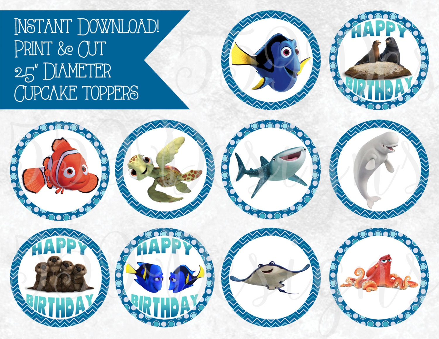Cake Decoration Printable : Printable Finding Dory Cupcake Toppers Download Print Cake