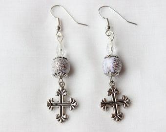 Silver Cross & White Globe w/ Filigree Star Earrings