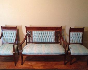 Antique Parlor Set, 3 Piece Set, Captains Chair, Settee, Ladies Chair