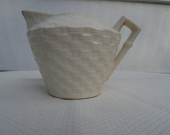 Small Basketweave Creamer with Bamboo Handle