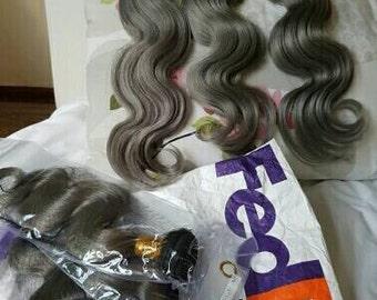 100% Human Grey Virgin  Brazilian Hair Bundles