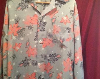 Vintage 1950's Fantastic Silk Leaf Print Hawaiian Shirt / make - Manhattan