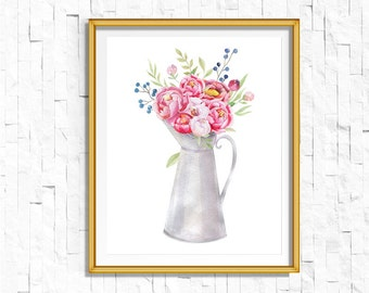 Instant Download Printable Floral Vase Print | Shabby Chic Vintage Flower Print | Boho Garden Watercolor Home Decor Nursery Rustic