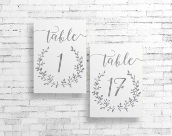 DIY PRINTABLE Silver Wedding Table Numbers | Instant Download Wedding Ceremony Reception Table Numbers 4x6 Silver Foil Calligraphy | WSil1