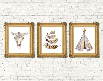 Instant Download Printable Bohemian Feathers Skull Teepee Print Set of 3 | Boho Wall Art Nursery Print | Tribal Woodland Watercolor Boy