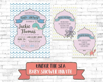 DIY PRINTABLE Under the Sea Baby Shower Invitation | Baby Shower Instant Download Invite| Ocean Sea Nautical Party | BSUTS17