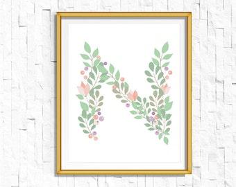 Instant Download Personalized Name Nursery Printable Monogram Art Print | Custom Nursery Printable Monogram Floral Letter N | FA-749 N-128P