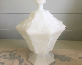 Milk Glass Covered Dish with Grape Design