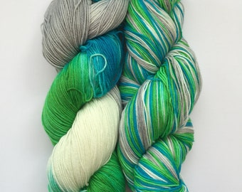 Arctic Blast Hand Dyed Sock Yarn 100g DYED TO ORDER