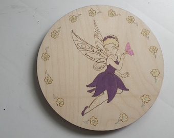 Purple Fairy Princess wooden wall hanging