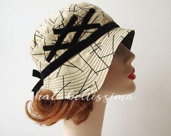 khaki  1920's Style cloche hat Vintage Style hat hatbellissima