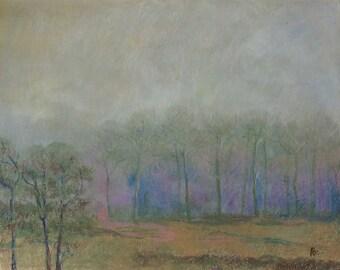 Oil Pastel Winter Landscape. Original painting.