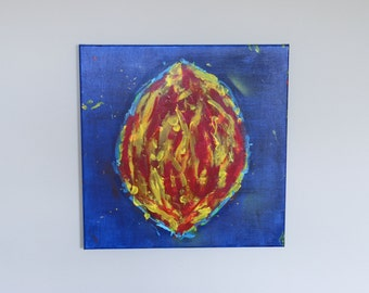 "Almond on Blue 20x20"" original acrylic canvas"
