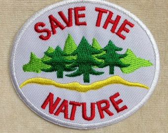 Save The Nature Iron On Patch #White