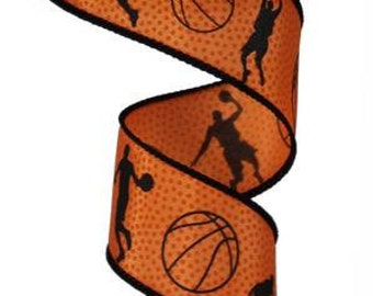 "1.5""X10yd Basketball Black/Dk Orange"