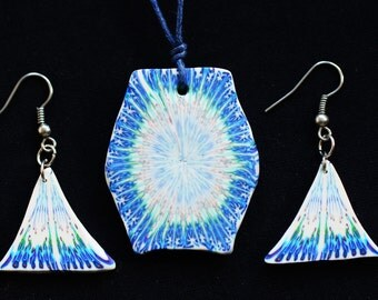 Psychedelic mandala fimo jewelry necklace and/or earrings
