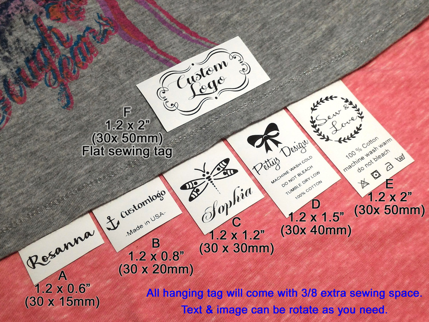 Qty 500 hanging tag sew on garment tag custom clothing labels for How to sew labels on clothes