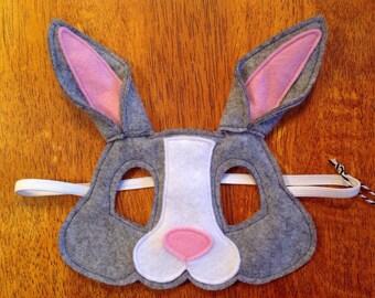 Grey bunny rabbit felt mask, soft & durable for kids' imaginative play