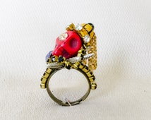 Large ring with Swarovski and skull-Skull King