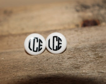 Circle Monogram Earrings with Silver Backing