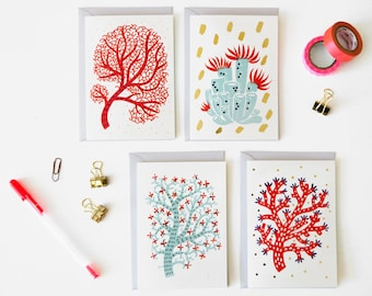 Set of 4 // red & mint Coral Greeting Cards with gold foil