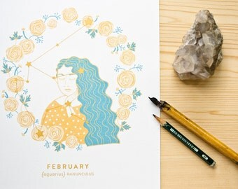 Aquarius Constellation Print with gold details