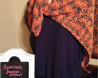 Earthtone Crochet Scarf, Handmade