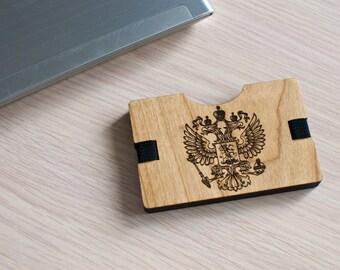 Handmade Wooden Wallet Credit Card Holder Oak Minimalistic Russian coat of arms