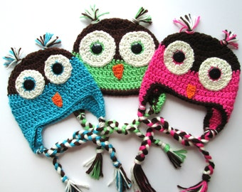 Crochet Owl Hat//baby hat// winter hat//photography prop//animal hat//Christmas gift//baby shower gift//