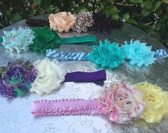 Any shabby chic hairbow with 2 flowers. Made to order. Message me with colors