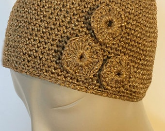 Metallic Gold Crocheted Hat