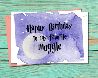 Harry Potter Birthday Card, Printable Birthday Card, Happy Birthday Greeting Card, Harry Potter Printable Card, INSTANT DOWNLOAD