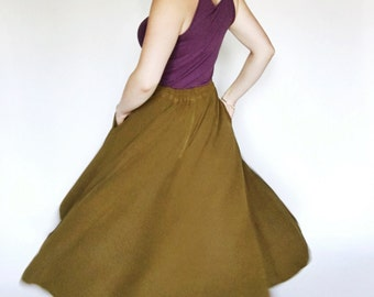 50's Inspired Olive Green Circel Skirt With Pockets