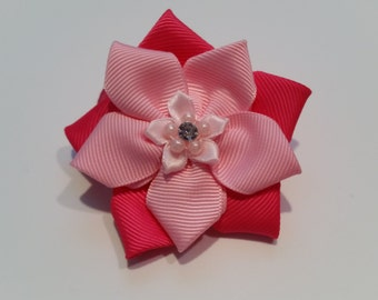 Hot pink and baby pink kanzashi flower hair bow