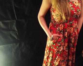 Vintage red floral dress