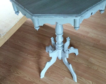 Greige Hand Painted Accent Table