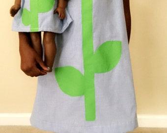 "Girls size 8 dresss & matching 18"" inch doll dress"