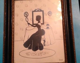 Lady in black. Vintage print