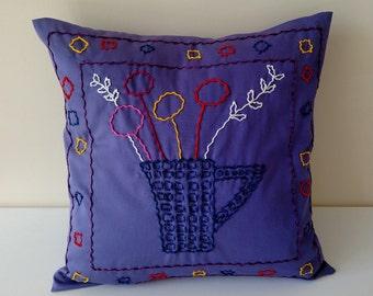 Purple pillow, pillows, decorative pillows,  throw pillows,  pillow covers,  pillow cases,  embroidery ,  cotton pillow, embroidered pillows
