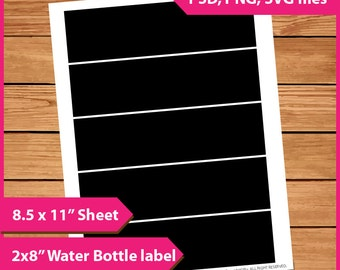 "Water Bottle Label Template Instant Download PSD, PNG and SVG Formats  8.5x11"" Digital  Print Your Own Diy sticker Printable layer template"