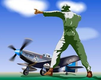P-51 Takeoff iPad Wallpaper