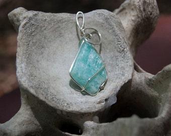 Vibrant Wrapped Rough Amazonite Pendant