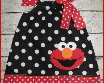 Black and White Polka dot Elmo Pillowcase style dress